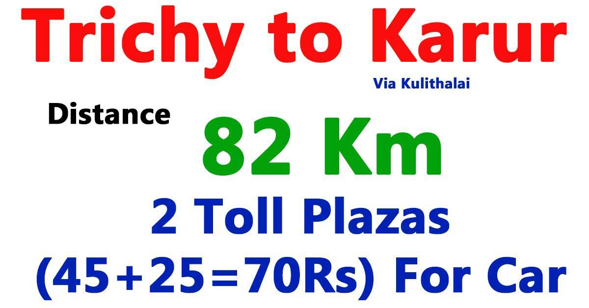 trichy to karur distance km kilometre via kulithalai
